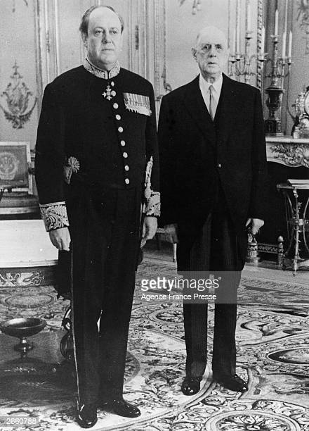 The British Ambassador in Paris Mr Christopher Soames former Conservative Minister of Agriculture with French President President General Charles de...
