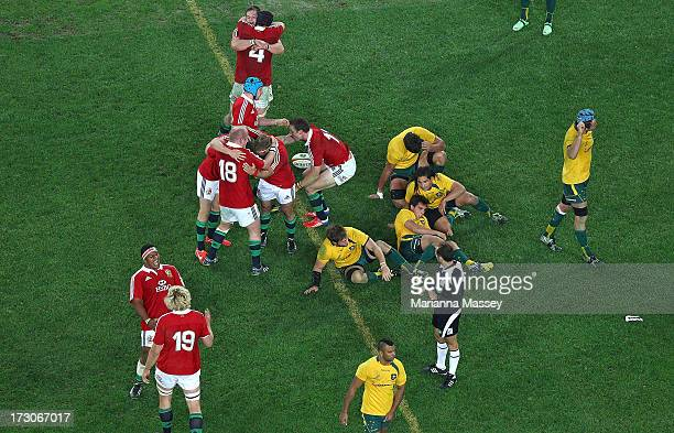 The British and Irish Lions celebrate their win during the International Test match between the Australian Wallabies and British Irish Lions at ANZ...
