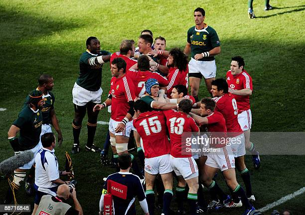 The British and Irish Lions clash with South Africa during the Second Test match between South Africa and the British and Irish Lions at Loftus...