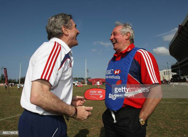 The British and Irish Lions manager Gerald Davies talks to former Wales and Lions team mate Gareth Edwards during the HSBC Durban Rugby Coaching...