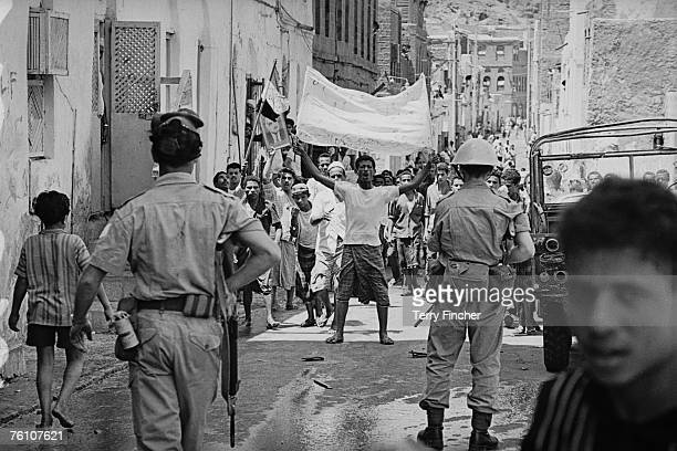 The British army face a group of protestors in Aden 8th March 1967