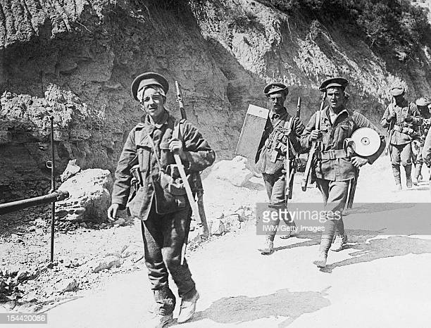 The British Army In Gallipoli Royal Fusiliers returning from the trenches through Gully Ravine circa 1915