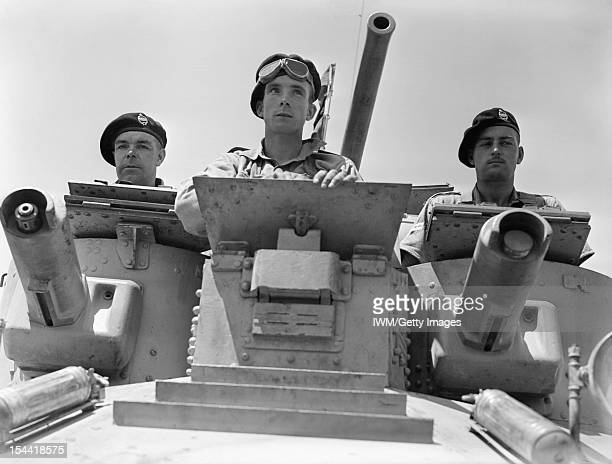 The British Army In North Africa 1940 Turret crew of a 1st Royal Tank Regiment A9 Cruiser Mk I tank at Abbasia Egypt 30 May 1940