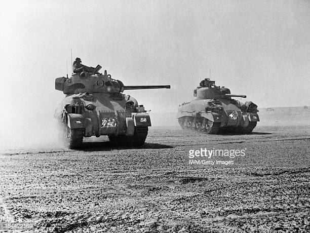 The British Army In North Africa 1942 Sherman tanks of 'C' Squadron 9th Queen's Royal Lancers 2nd Armoured Brigade 1st Armoured Division 5 November...