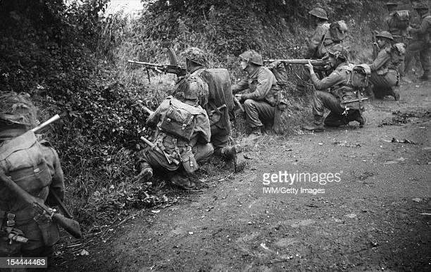 The British Army In The Normandy Campaign 1944 Troops of 6th Royal Scots Fusiliers 15th Division fire from their positions in a sunken lane during...