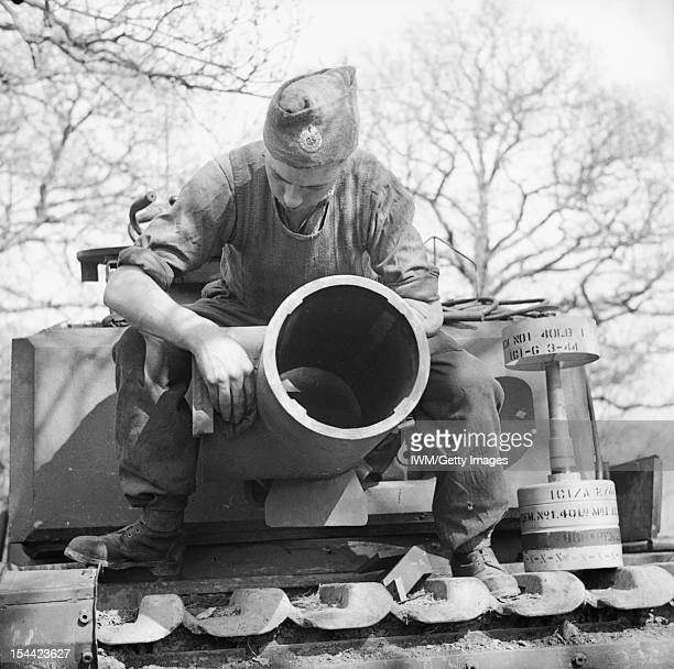The British Army In The United Kingdom 193945 The 29cm Petard spigot mortar on a Churchill AVRE of 79th Squadron 5th Assault Regiment Royal Engineers...