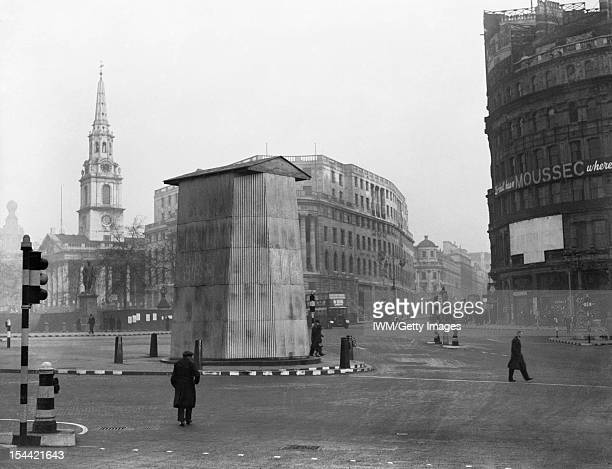 The British Army In The United Kingdom 193945 The corrugated metal structure erected to protect the statue of King Charles I in Trafalgar Square...