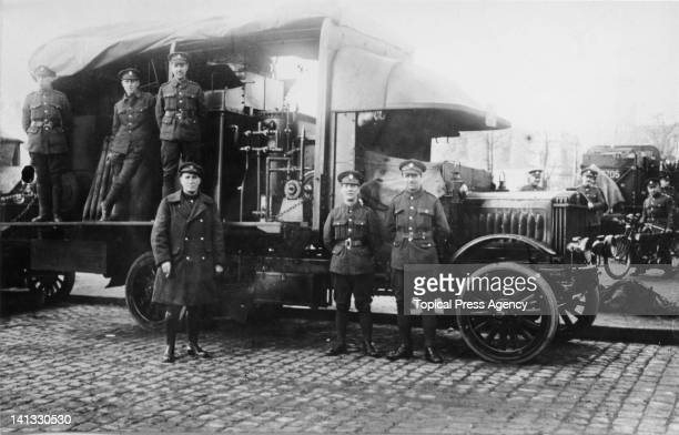 The British Army of the Rhine with a travelling water purifier in Cologne Germany after World War I 10th February 1919