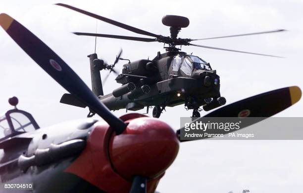 The British Army show off their new state of the art attack Helicopter the Apache Longbow as it performs a demonstration above a Second World War...
