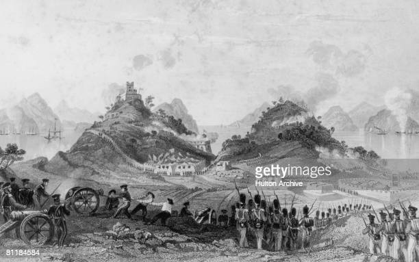 The British attack and capture Chuenpeh an island on the Pearl River in southern China at the start of the First Opium War circa 1839 Engraving by H...