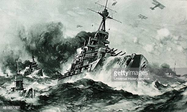 The British Battle Squadron at full speed in the narrow seas lithograph by Charles Padday British Navy in World War I circa 1915
