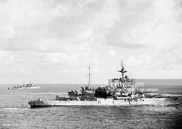 The British battleship Warspite and the Dutch light cruiser HNLMS Jacob van Heemskerck during operations in the Indian Ocean before the Battle of...