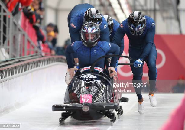 The British Bobsleigh driven by Brad Hall competes in Heat 1 of the 4Man Bobsleigh at Olympic Sliding Centre on February 24 2018 in Pyeongchanggun...