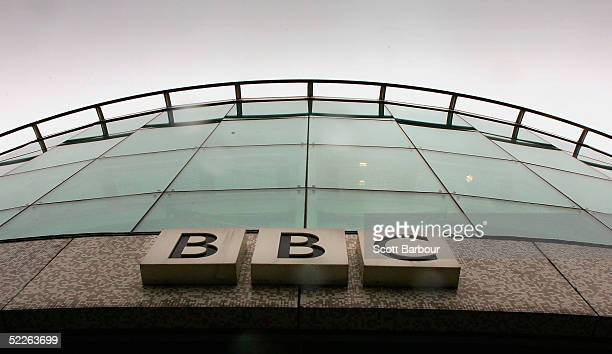The British Broadcasting Corporation logo hangs on a BBC building on March 2 2005 in London England Under new government plans the BBC's Board of...