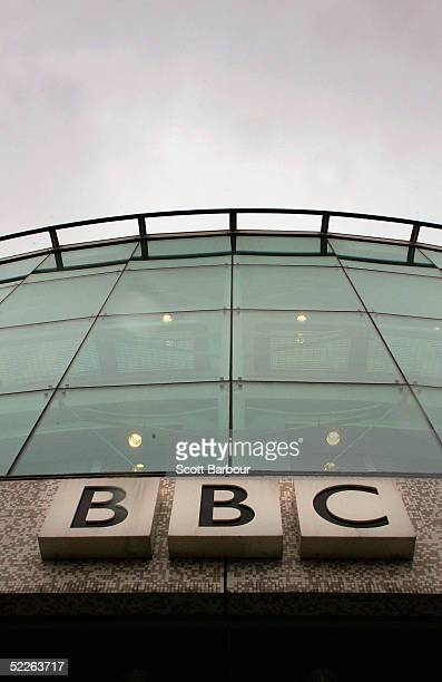 The British Broadcasting Corporation logo rests on a BBC building on March 2 2005 in London England Under new government plans the BBC's Board of...