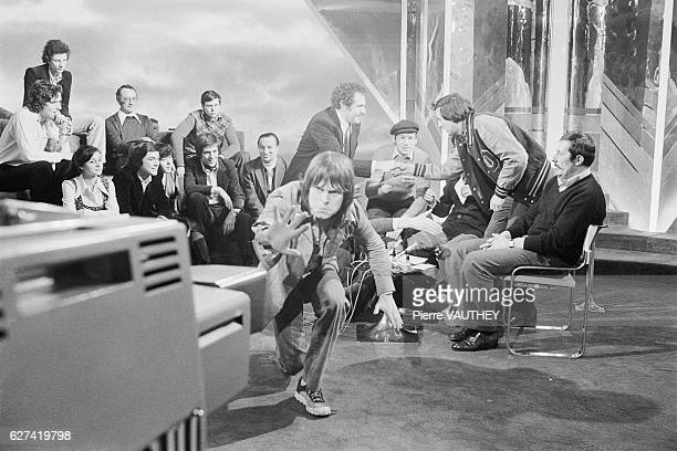The British comedy team Monty Python appears on the French TV show Rendezvous du Dimanche hosted by Michel Drucker In the foreground Terry Gilliam...