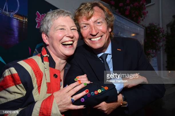 The British ConsulGeneral Dame Barbara Hay and Nigel Lythgoe attend the British Consulate Olympics 2012 Opening Ceremonies reception held at the The...