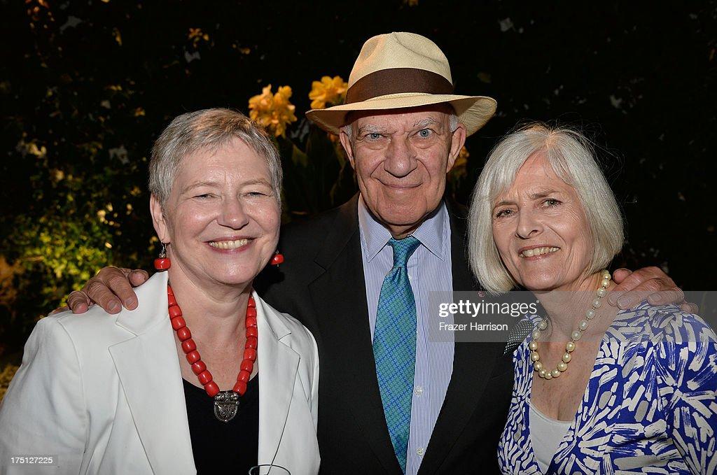 The British Consul-General Dame Barbara Hay Director Arnold Schwartzman and Isolde Schwartzman attend a farewell Cocktail Reception For The British Consul-General Dame Barbara Hay on July 31, 2013 in Los Angeles, California.
