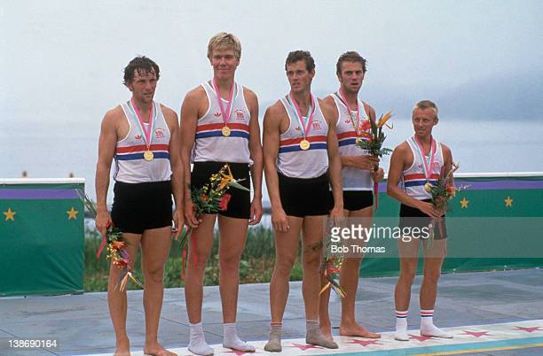 The British rowing four with their coxswain after winning the gold medal at the Summer Olympics in Los Angeles 4th August 1984 They are Martin Cross...