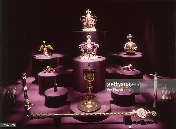 The British crown jewels with the Imperial State Crown centre and St Edward's Crown
