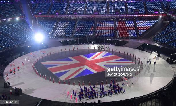 The British delegation parades during the opening ceremony of the Pyeongchang 2018 Winter Olympic Games at the Pyeongchang Stadium on February 9 2018...