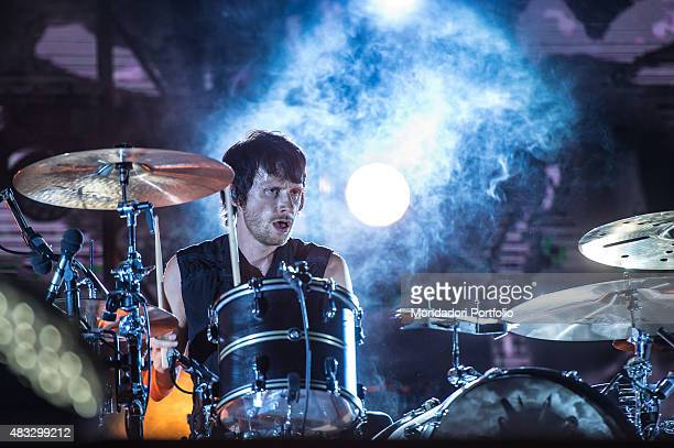 The British drummer Dominic Howard during the concert of the Muse at Ippodromo Capannelle Rome 18th July 2015