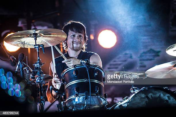 The British drummer Dominic Howard during the concert of the Muse at Ippodromo Capannelle Rome 18th July 2015 The British drummer Dominic Howard...
