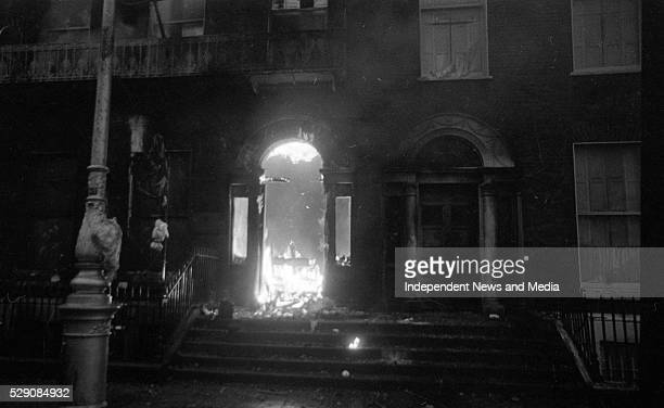 The British Embassy on Merrion Sq which was set a blaze in the proterst following Bloody Sunday circa February 1972