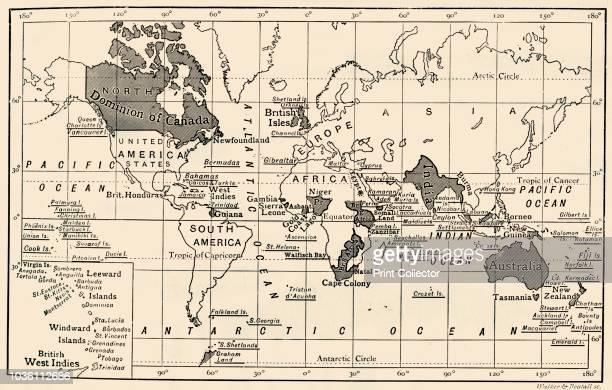 The British Empire, 1897'. 'British possessions shaded or underlined. Views of the principal Colonial towns are given on subsequent pages. Egypt...