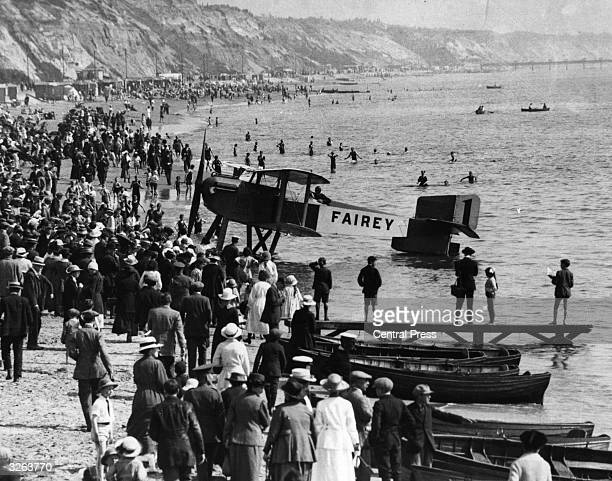 The British entry in the Schneider Trophy Fairey III on the beach at Bournemouth