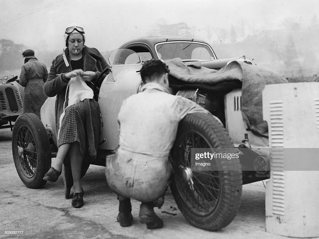 The British Female Racing Driver Roy Eccles On Brooklands Motor Racing Track. 12Th March 1936. Photograph. : News Photo