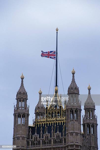 The British flag flies at halfmast on the day of Princess Diana's funeral to signify a day of national mourning Diana Princess of Wales was killed in...