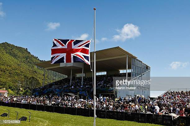 The British flag fly's at half mast during the national memorial service for the 29 miners that lost their lives in the Pike River Mine at Omoto...