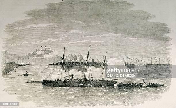 The British fleet attacking the island of Chusan July 5 print First Opium War China 19th century
