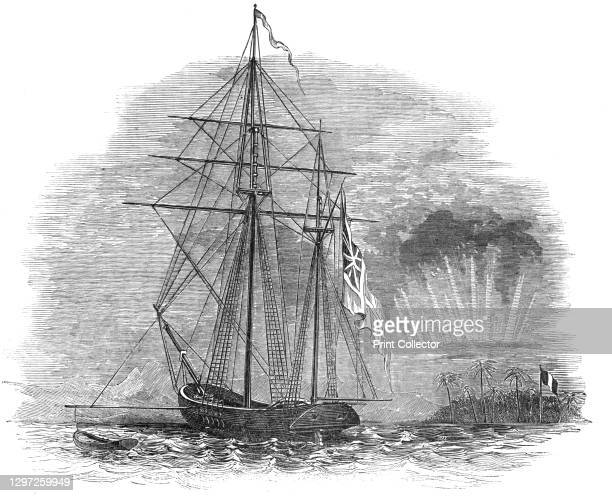 The British Force off Tahiti - Her Majesty's Ketch, Basilisk, 1844. Royal navy ship: '...200 tons, commanded by Lieutenant Hunt, on board which...