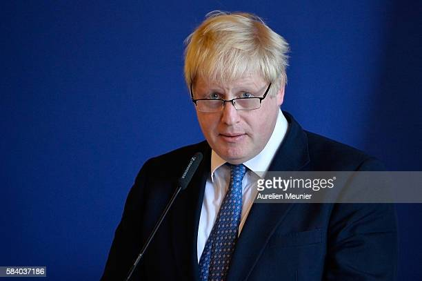 The British Foreign Secretary Boris Johnson addresses the press after a meeting with the French Minister of Foreign Affairs Jean-Marc Ayrault at Quai...