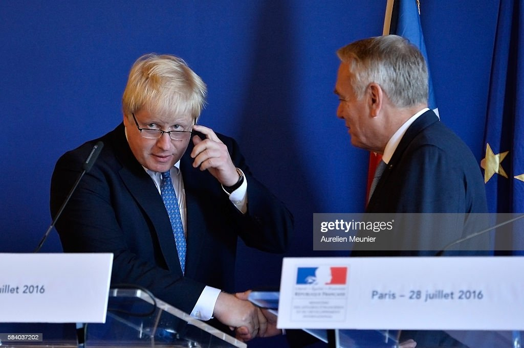 The British Foreign Secretary Boris Johnson Visits The French Foreign Minister Jean Marc Ayrault