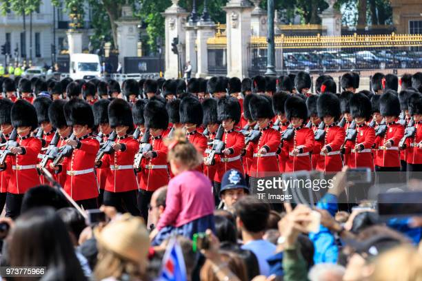 The British Guard parade during the celebration of the Queen's birthday called Trooping The Colour on June 9 2018 in London England