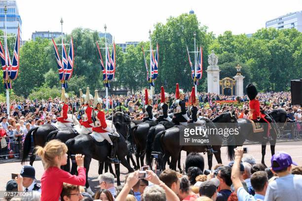 The British Guard parades during the celebration of the Queen's birthday called Trooping The Colour on June 9 2018 in London England