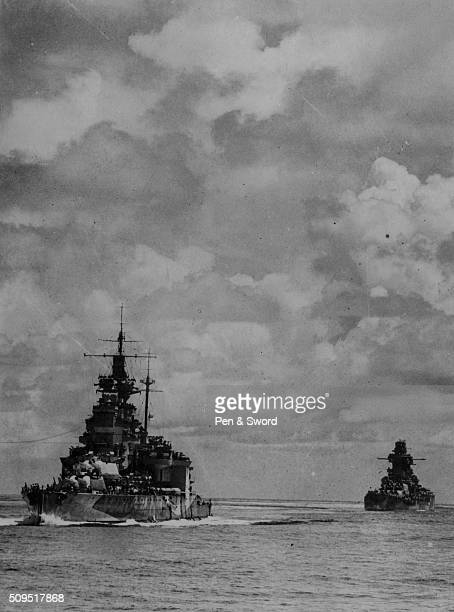 The British HMS Valient and the French Richelieu battleships seen from the HMS Queen Elizabeth France