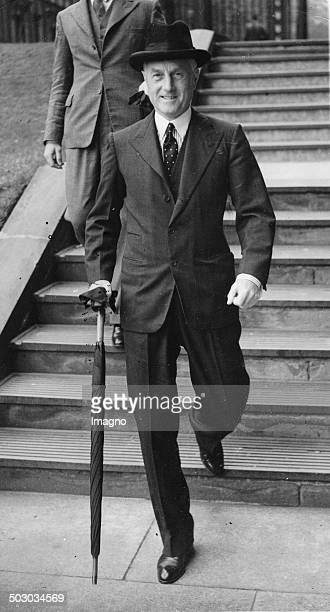 The British Home Secretary Samuel Hoare on leaving Downing Street 10. 30th August 1938. Photograph.