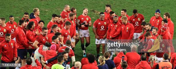 The British & Irish Lions celebrates their victory during the 1st Test match between the South Africa Springboks and the British & Irish Lions at...