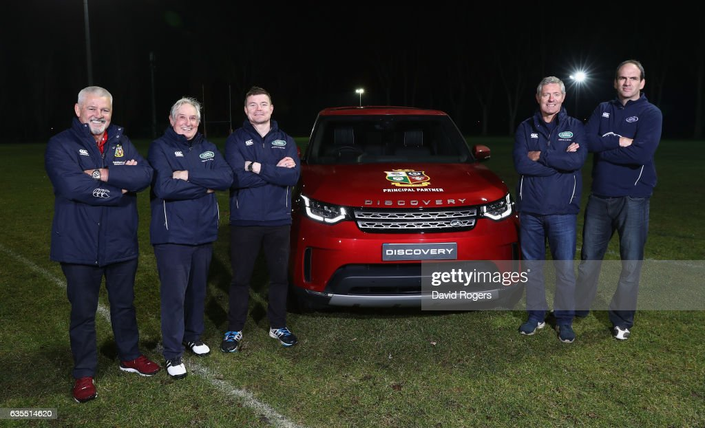 The British & Irish Lions Head Coach Warren Gatland and former Lions and Land Rover ambassadors, Sir Gareth Edwards, Brian O'Driscoll, Gavin Hastings and Martin Johnson pose with the All New Discovery during a training session at Staines RFC on February 15, 2017 in London, England. The Lions Head Coach turned up with legendary Lions Brian O'Driscoll, Martin Johnson, Gavin Hastings and Sir Gareth Edwards on the first stop of Land Rover's UK tour to find players and supporters who deserve a trip to join the Lions in New Zealand for the first Test in Auckland in June.