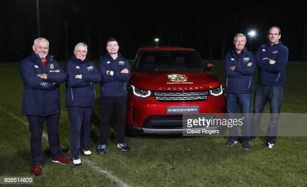 The British Irish Lions Head Coach Warren Gatland and former Lions and Land Rover ambassadors Sir Gareth Edwards Brian O'Driscoll Gavin Hastings and...