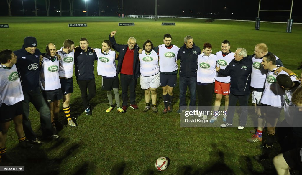 The British & Irish Lions Head Coach Warren Gatland (C) surprises the West London rugby club Whitton Lions RFC during a training session on February 15, 2017 in London, England. The Lions Head Coach turned up with legendary Lions Brian O'Driscoll, Martin Johnson, Gavin Hastings and Sir Gareth Edwards on the first stop of Land Rover's UK tour to find players and supporters who deserve a trip to join the Lions in New Zealand for the first Test in Auckland in June.