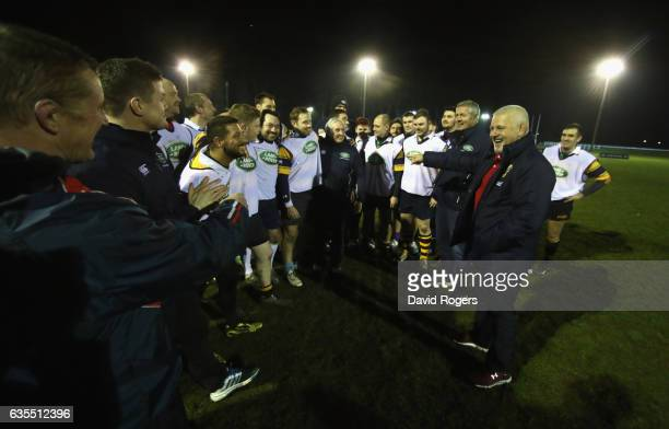 The British Irish Lions Head Coach Warren Gatland surprises the West London rugby club Whitton Lions RFC during a training session on February 15...