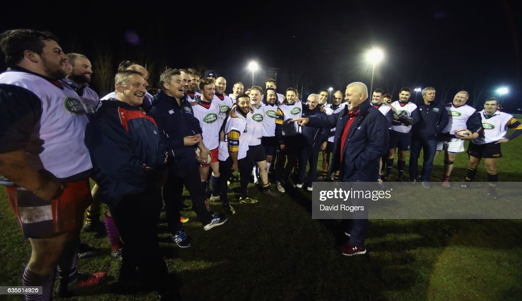 The British & Irish Lions Head Coach Warren Gatland (R) surprises the West London rugby club Whitton Lions RFC during a training session on February 15, 2017 in London, England. The Lions Head Coach turned up with legendary Lions Brian O'Driscoll, Martin Johnson, Gavin Hastings and Sir Gareth Edwards on the first stop of Land Rover's UK tour to find players and supporters who deserve a trip to join the Lions in New Zealand for the first Test in Auckland in June.