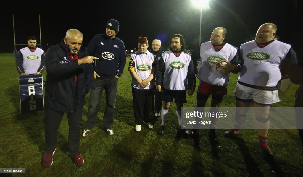 The British & Irish Lions Head Coach Warren Gatland (L) surprises the West London rugby club Whitton Lions RFC during a training session on February 15, 2017 in London, England. The Lions Head Coach turned up with legendary Lions Brian O'Driscoll, Martin Johnson, Gavin Hastings and Sir Gareth Edwards on the first stop of Land Rover's UK tour to find players and supporters who deserve a trip to join the Lions in New Zealand for the first Test in Auckland in June.