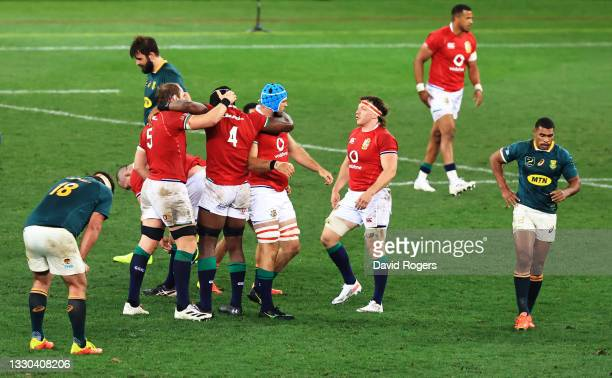 The British & Irish Lions players celebrate victory following the 1st Test between South Africa & British & Irish Lions at Cape Town Stadium on July...