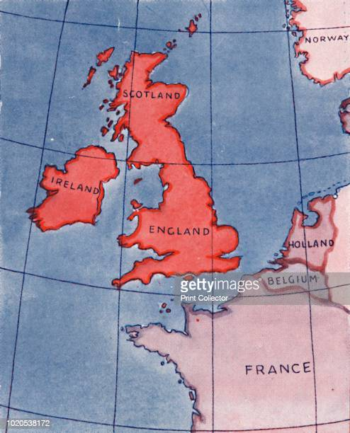 The British Isles and France Belgium and Holland at Noon in midsummer What Britain Looks Like From The Sun' 1935 From The Popular Science Educator...